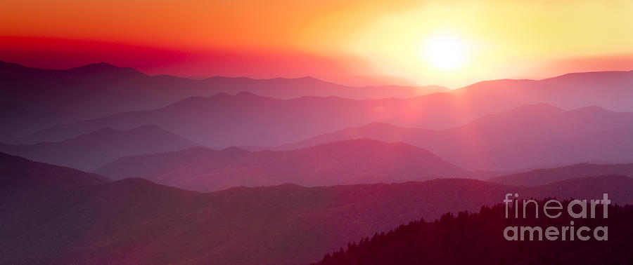 Sunset Photograph - Great Smokie Mountains Sunset by Dustin K Ryan
