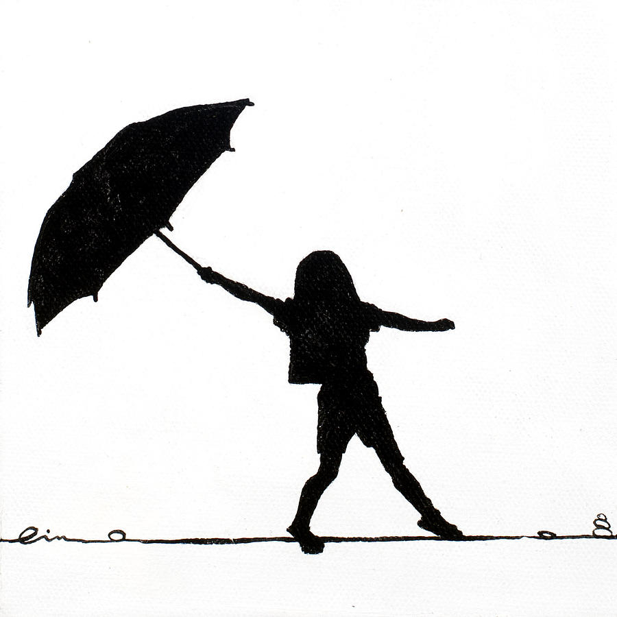 Black And White Painting - Little Girls On Little Canvas by Cindy D Chinn