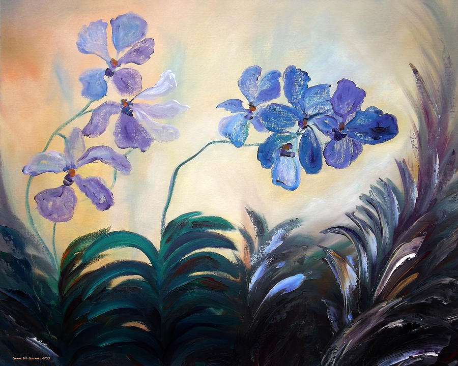 Landscapes Painting - Purple Orchids by Gina De Gorna