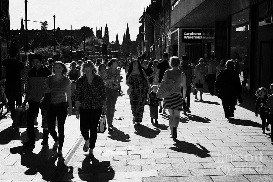 Princes Photograph - Shoppers And Tourists On Princes Street Edinburgh Scotland Uk United Kingdom by Joe Fox