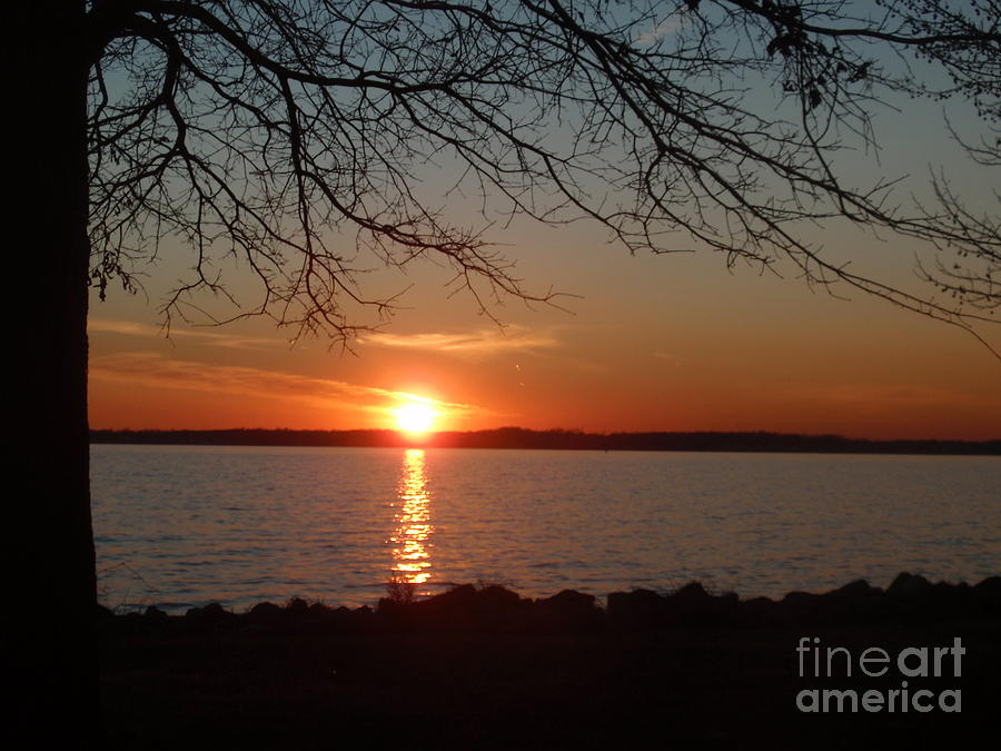Sunset Photograph - Sunset Chesapeake Bay by Valia Bradshaw