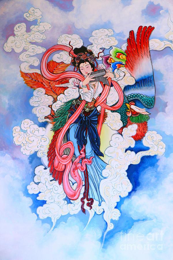Ancient Photograph - tradition Chinese painting on wall  by Phalakon Jaisangat