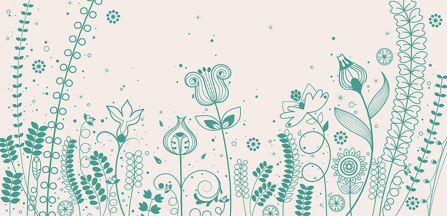 Various Plants Patterns Digital Art by Eastnine Inc.