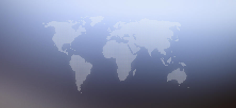 World Map In Dots Against An Abstract Background Digital Art by Ralf Hiemisch