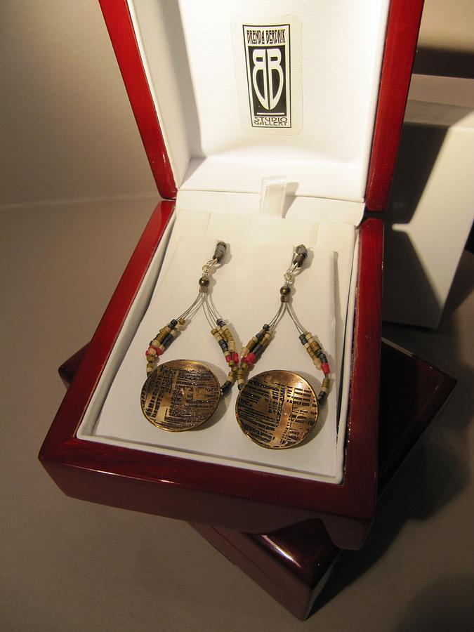 Sterling Silver Jewelry - 404 Brass Etching Delica Earrings by Brenda Berdnik