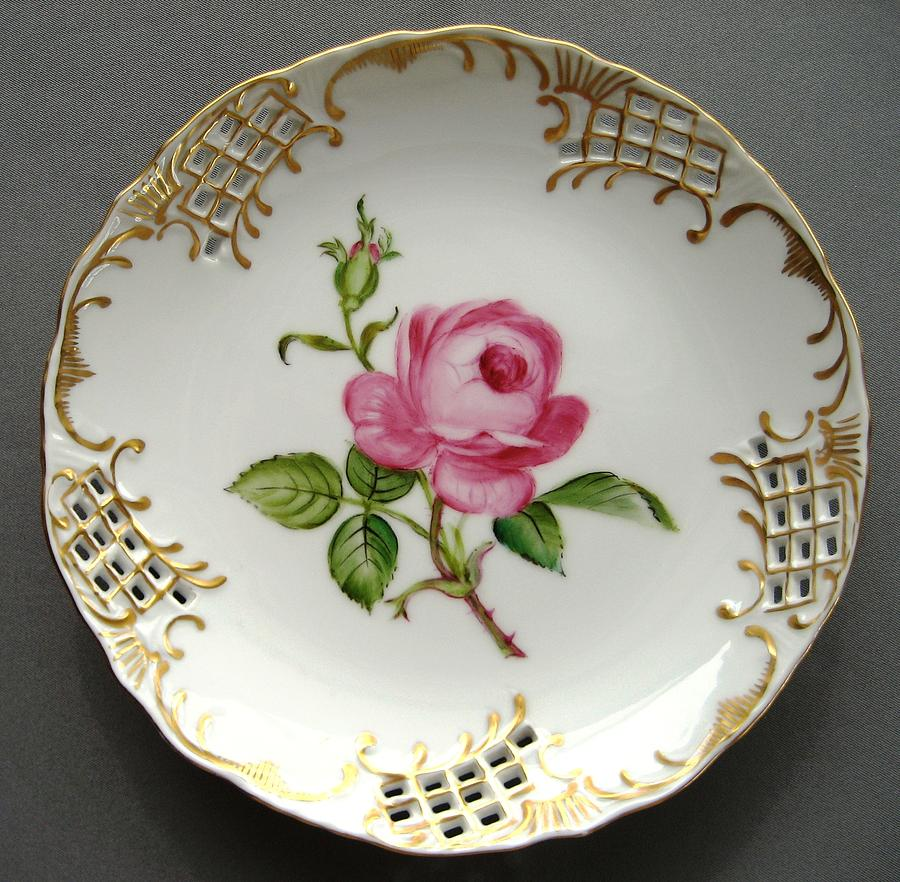 Porcelain Ceramic Art - 432 Small Rose Plate by Wilma Manhardt