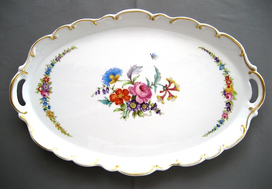 Porcelain Ceramic Art - 460  Big Oval Dresden Tray by Wilma Manhardt