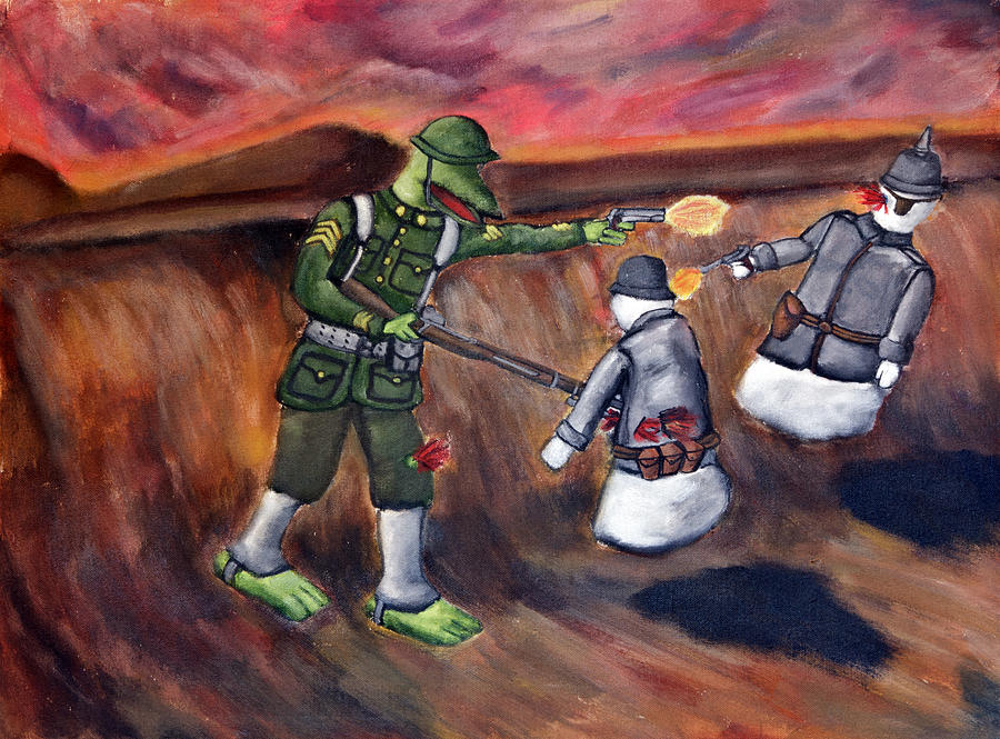 Sargeant Dragon Ghost Kaiser World War One Doughboy German American Soldier Painting - 48 - Sargeant Dragon Vs The Ghost Kaiser by Patrick Charles