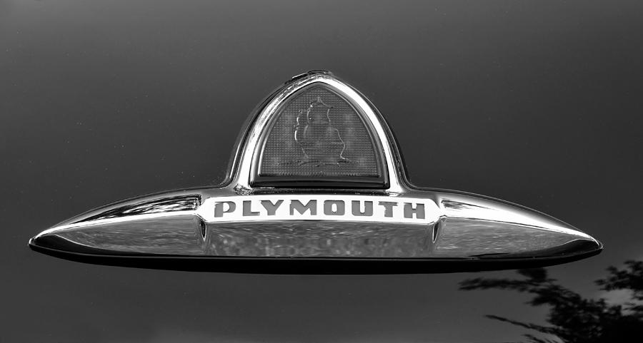 Black And White Photograph - 49 Plymouth Emblem by David Lee Thompson