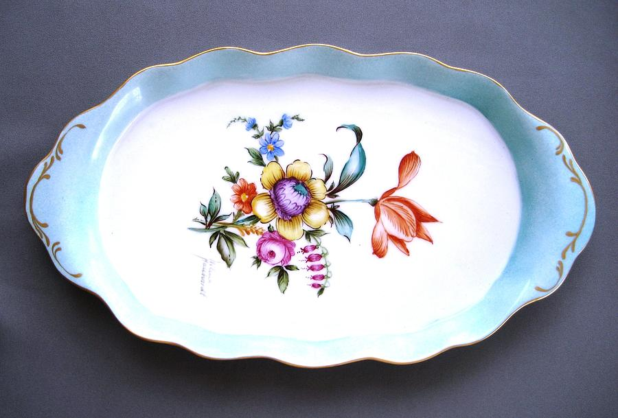 Porcelain Ceramic Art - 495 Oval Tray Dresden Style by Wilma Manhardt
