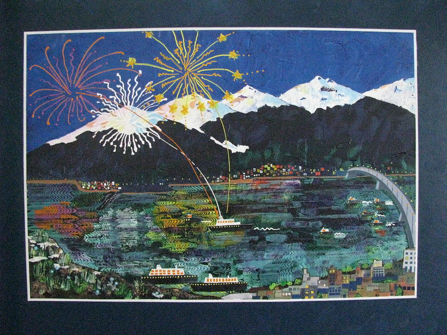Fireworks Painting - 4th Of July In Juneau Alaska by Sunny Eccleston
