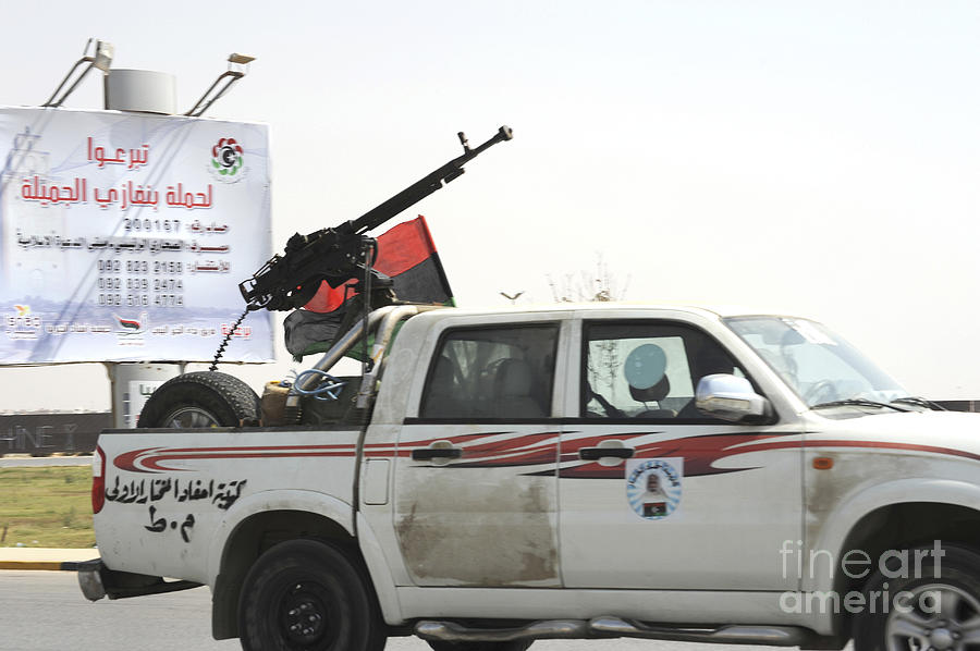 Intervention Photograph - A Free Libyan Army Pickup Truck by Andrew Chittock