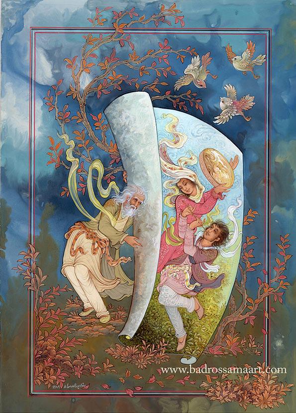 Khayyam Painting - About Quatrains Of Khayyam by Reza Badrossama