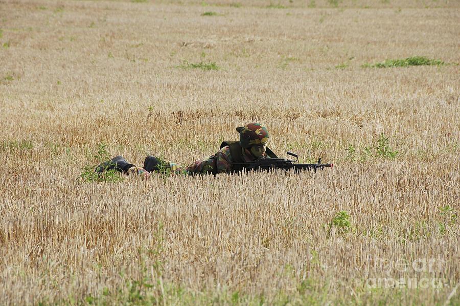 Ambush Photograph - Belgian Paratroopers On Guard by Luc De Jaeger