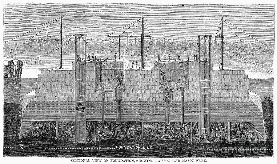 1870 Photograph - Brooklyn Bridge, 1870 by Granger