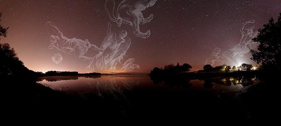 Corona Borealis Photograph - Constellations In A Night Sky by Laurent Laveder