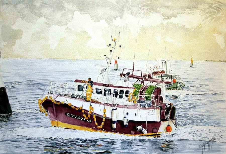 Fishing Boats Painting - 5 Di Pomeriggio A Guilvinec by Giovanni Marco Sassu