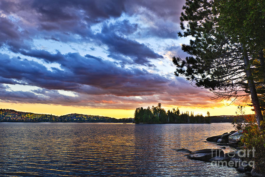 Sunset Photograph - Dramatic Sunset At Lake by Elena Elisseeva