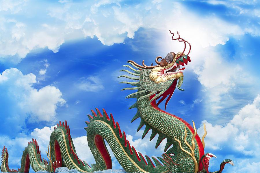 2012 Photograph - Giant Golden Chinese Dragon  by Anek Suwannaphoom