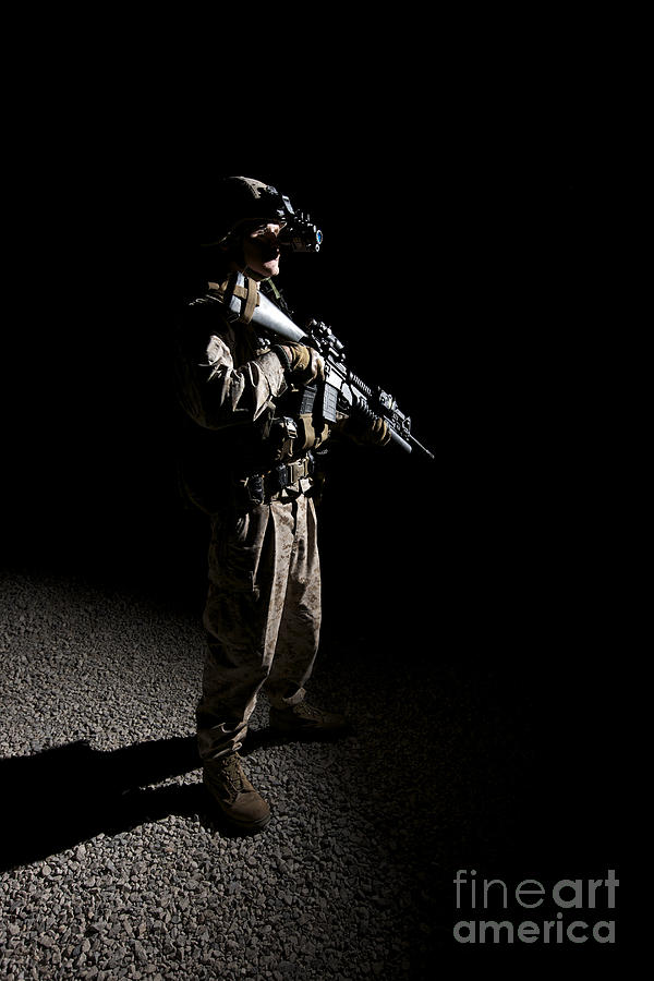 M203 Photograph - Partially Silhouetted U.s. Marine by Terry Moore