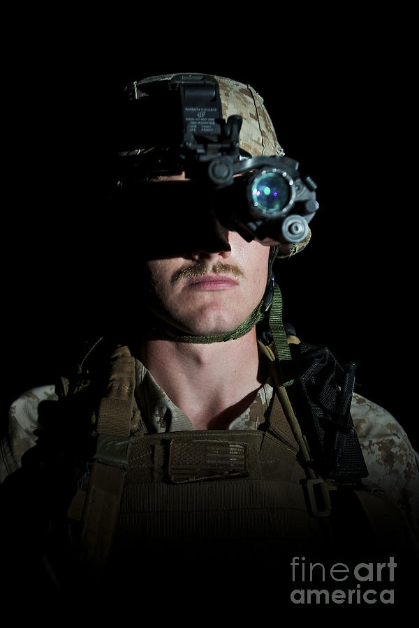 Goggles Photograph - Portrait Of A U.s. Marine Wearing Night by Terry Moore