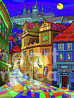 Prague Old Street Mixed Media by Yuriy Shevchuk