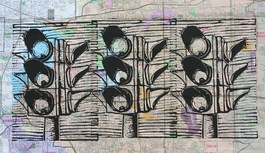 Stoplight Drawing - Signal by William Cauthern