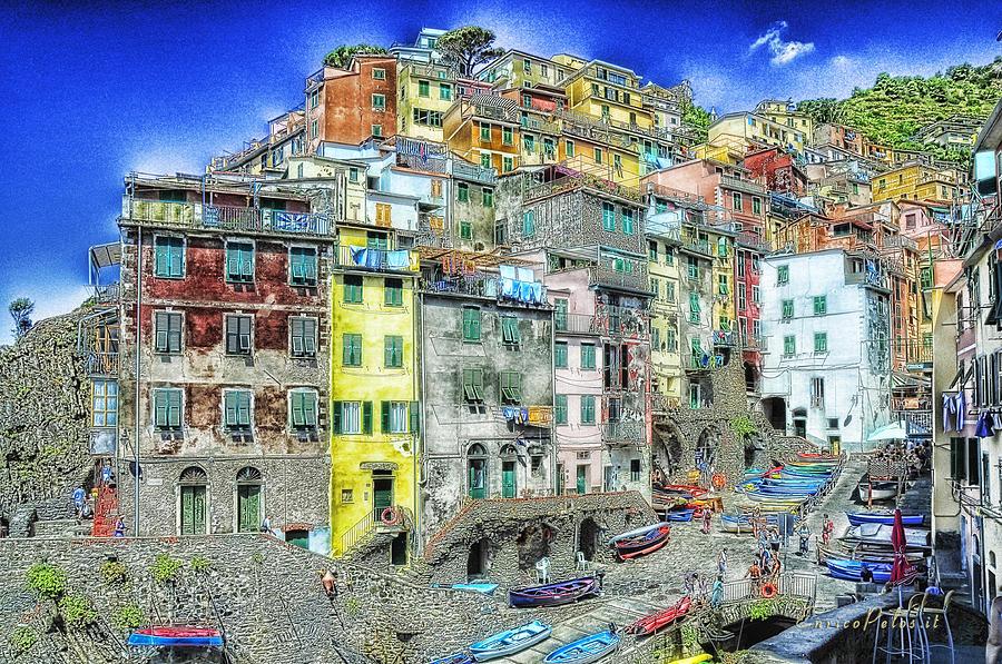 Riomaggiore Mixed Media - 5 Terre Riomaggiore Landscape In Passeggiate A Levante by Enrico Pelos