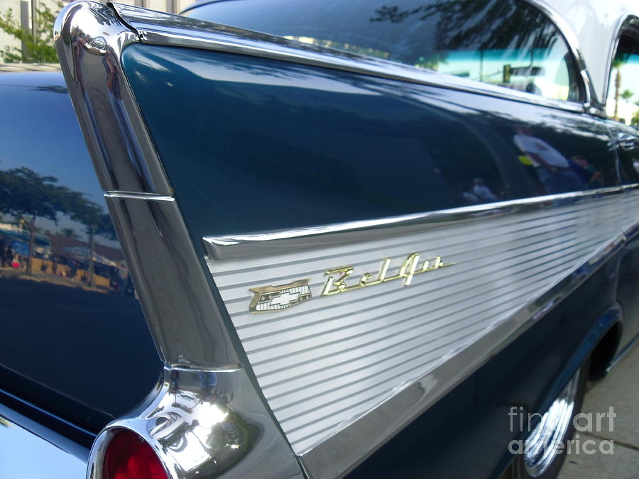 Classic Digital Art - 57 Chevy Bel Air Hardtop Back Fender View by Kerry Browne