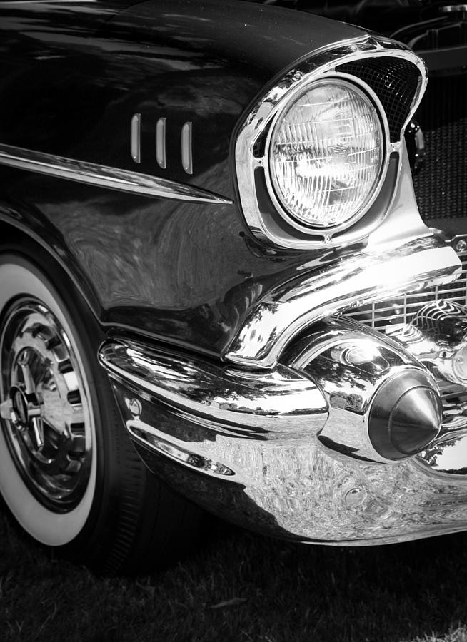Black And White Photograph - 57 Chevy Black by Steve McKinzie