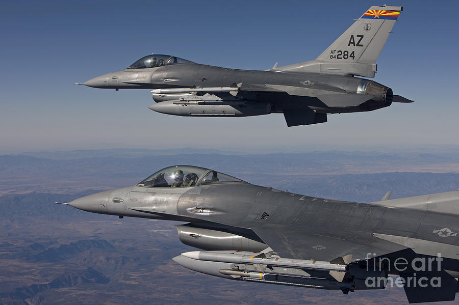 A Pair Of F-16s Fly In Formation Photograph
