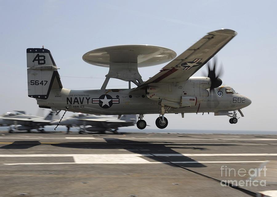 Aircraft Photograph - An E-2c Hawkeye Lands Aboard by Stocktrek Images