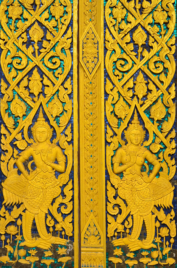 Wood Painting - Antique Thai Temple Mural Patterns by Kanoksak Detboon