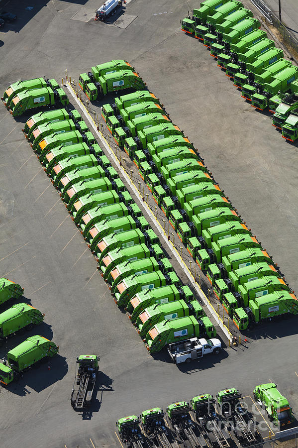 Aerial Photograph - Garbage Truck Fleet by Don Mason