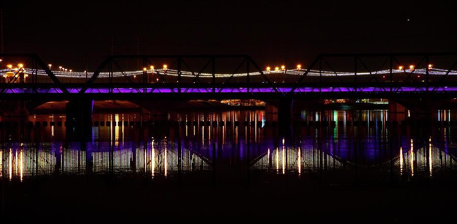 Bridges Photograph - Night Lights by Alberto Sanchez