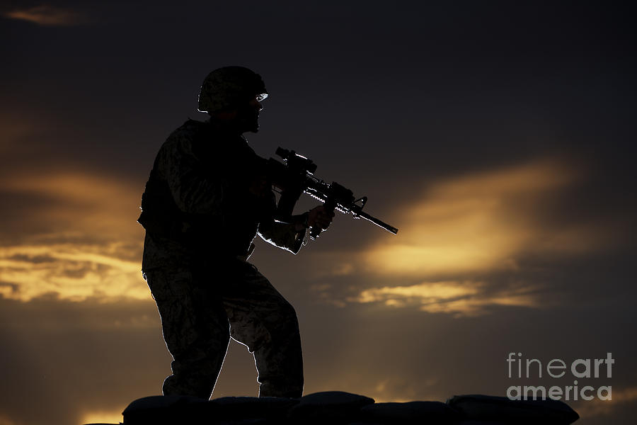 Vigilant Photograph - Partially Silhouetted U.s. Marine by Terry Moore