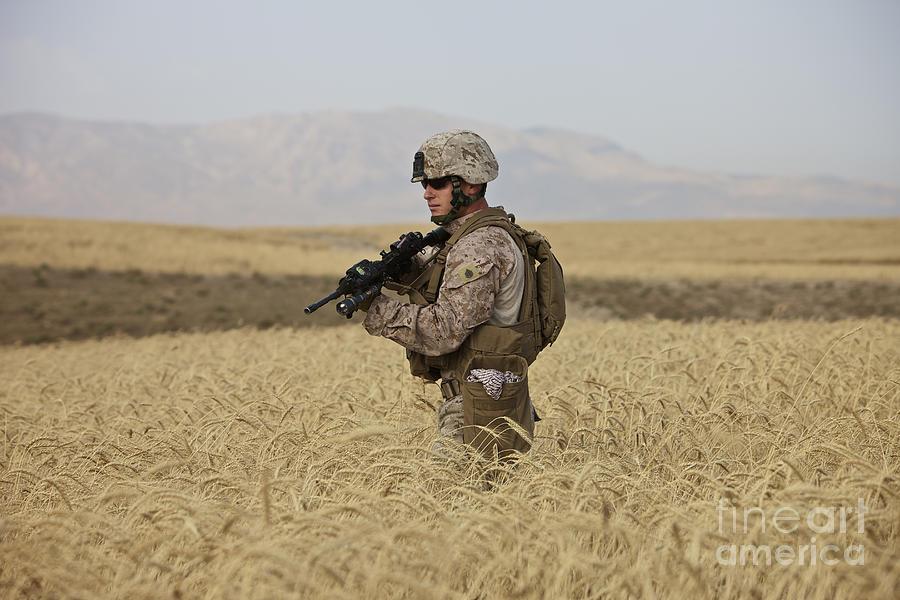 Us Marines Photograph - U.s. Marine Patrols A Wadi Near Kunduz by Terry Moore