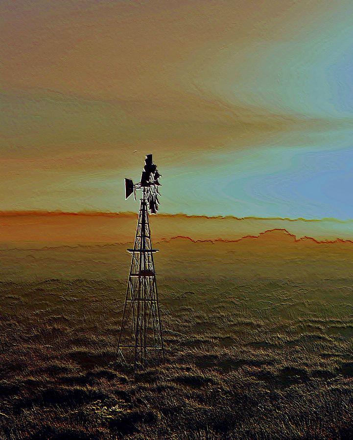 Landscape Photograph - Windmill Water Pump by Werner Lehmann