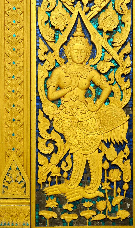 Wood Sculpture - Antique Thai Temple Mural Patterns by Kanoksak Detboon