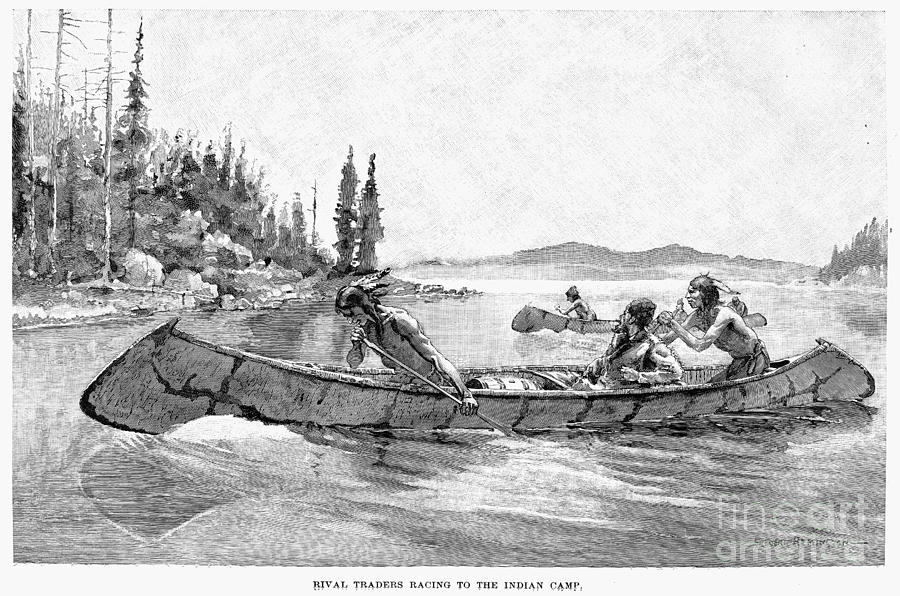 19th Century Drawing - Canada Fur Trade by Granger