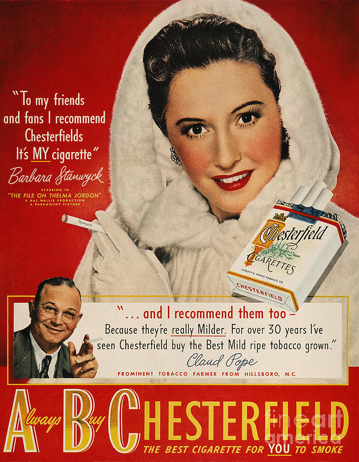 1949 Photograph - Chesterfield Cigarette Ad by Granger