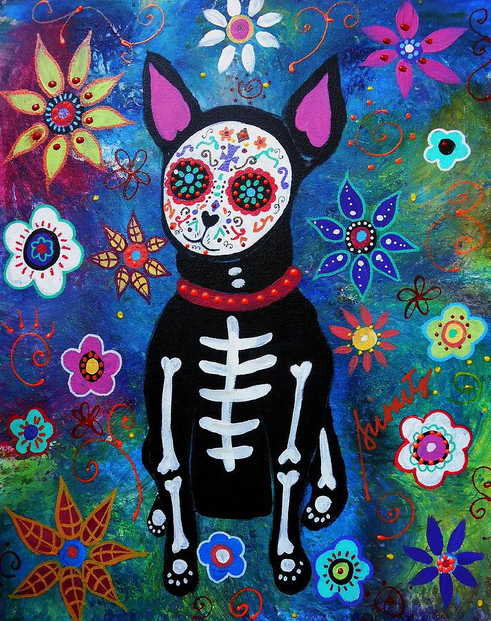 Chihuahua Dia De Los Muertos Painting By Pristine Cartera