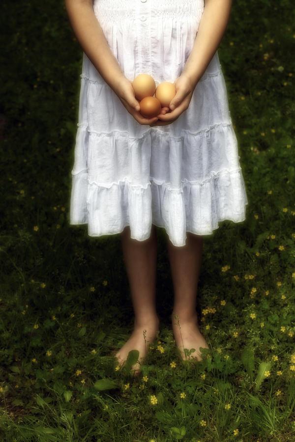 Girl Photograph - Eggs by Joana Kruse