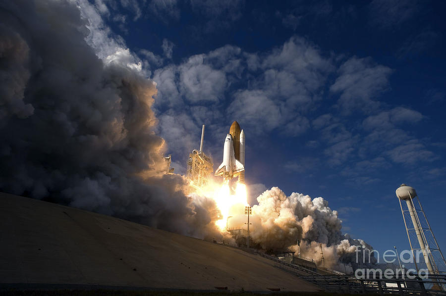 Mission Photograph - Space Shuttle Atlantis Lifts by Stocktrek Images