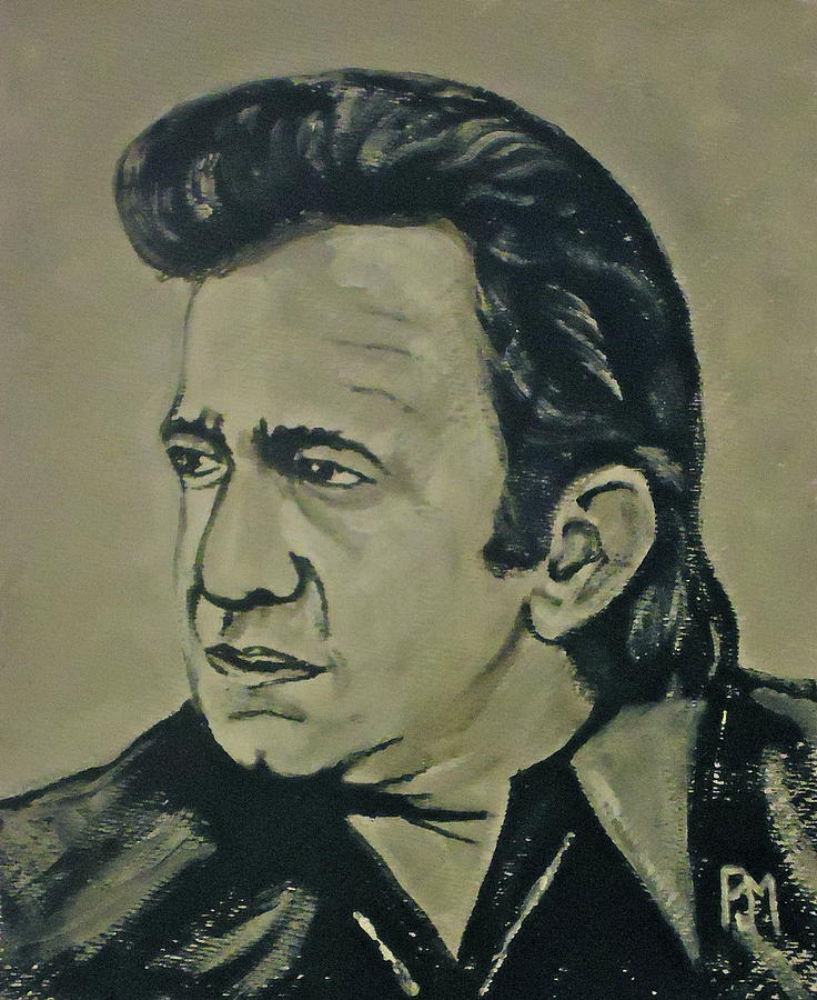 Johnny Cash Painting - 70s Johnny by Pete Maier