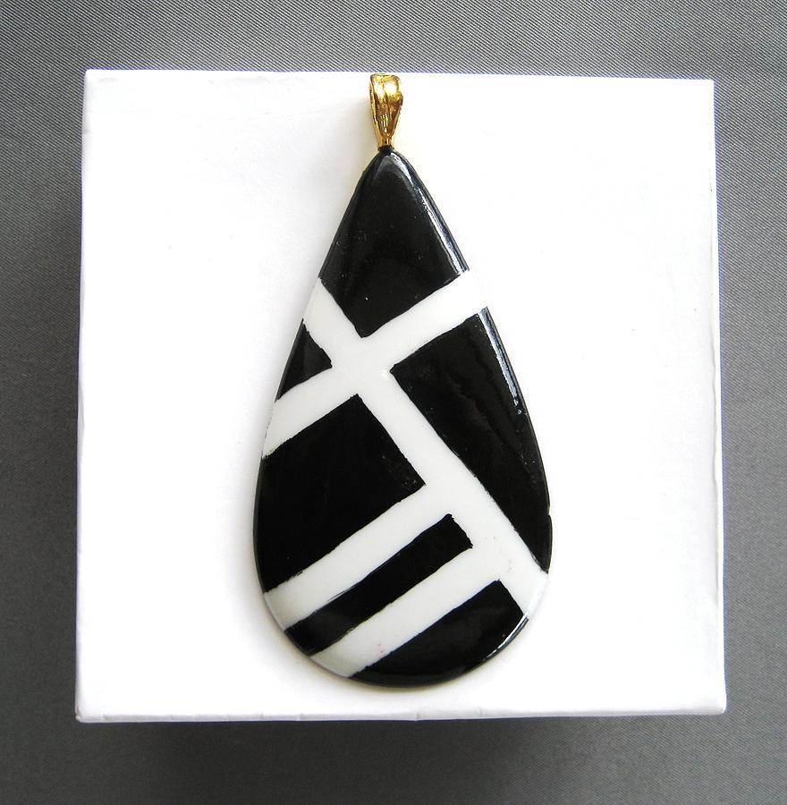 Porcelain Ceramic Art - 712 Jewelry Pendant Black  White by Wilma Manhardt