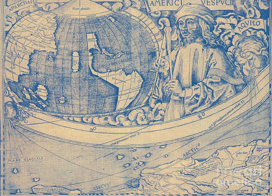 Amerigo Vespucci Map Of America.Amerigo Vespucci Italian Explorer Photograph By Photo Researchers