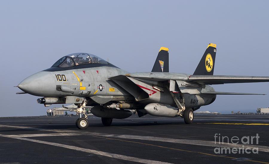 An F 14d Tomcat On The Flight Deck Photograph By Gert Kromhout