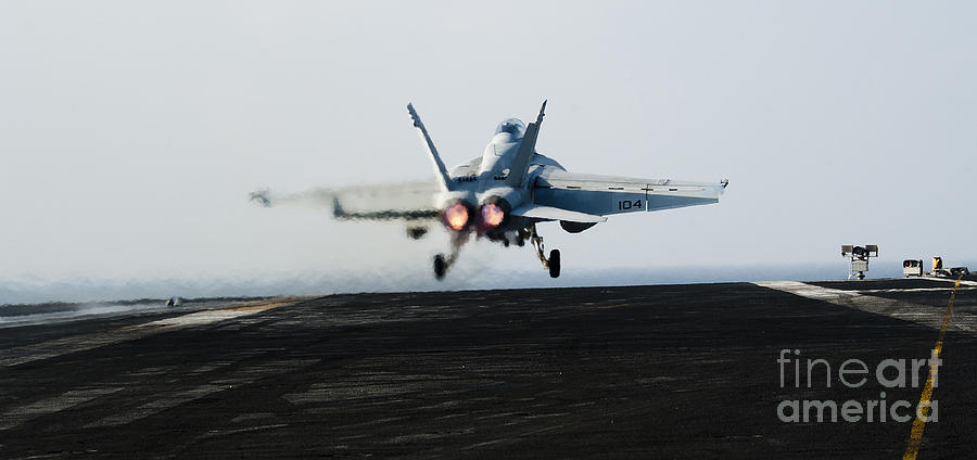 Operation Enduring Freedom Photograph - An Fa-18f Super Hornet Launches by Stocktrek Images