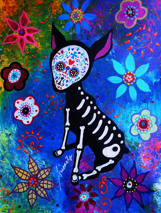 Ar Painting - Chihuahua Day Of The Dead by Pristine Cartera Turkus